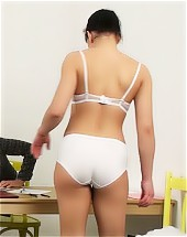 Bad student undressed to the white lingerie